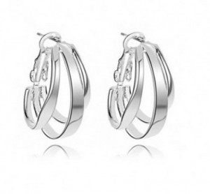 Excellent Quality Female Three-ring Type 925 Sterling Silver Earrings