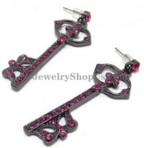 Fashion Key Shape Alloy Earrings with Pink Rhinestones