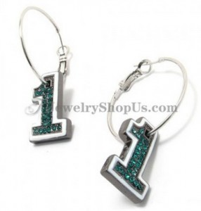 Number 1 Shape Alloy Earrings with Green Rhinestones
