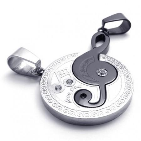 Black musical note lovers titanium pendant 20442 titanium jewelry shop black musical note lovers titanium pendant 20442 aloadofball Images
