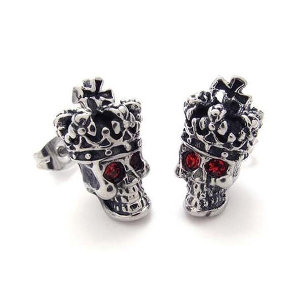 Red Diamond Crown Skull Anium Earrings 20351