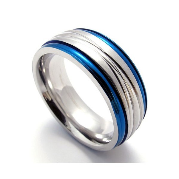 Fashion Blue Titanium Ring